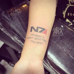 Mass Effect video game quote tattoo by Sarra Lynnette at Stingray Tattoo