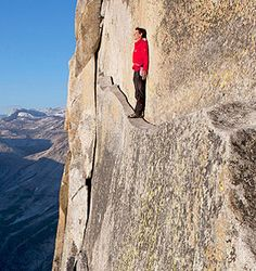 Image of a natural wonder (Half Dome) and the man who scaled its face without ropes, Alex Honnold.