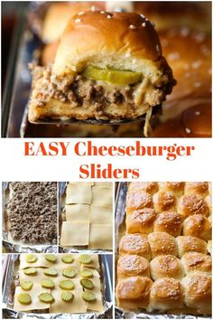 Sliders These Easy Cheeseburger Sliders feed a crowd and taste just like White Castle cheeseburgers!These Easy Cheeseburger Sliders feed a crowd and taste just like White Castle cheeseburgers! Appetizers For A Crowd, Food For A Crowd, Appetizer Recipes, Meat Appetizers, Easy Recipe For A Crowd, Kid Recipes Dinner, Party Food Recipes, Weeknight Recipes, Cooking For A Crowd