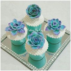 Blue Floral Cupcakes