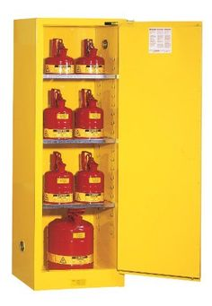 """Justrite Sure-Grip EX 892220 Safety Cabinet for Flammable Liquids, 1 Door, 3 Shelf, Self Close, 22 gallon, 65""""Height, 23-1/4""""Width, 18""""Depth, Steel, Yellow by Justrite. Save 29 Off!. $664.80. Sure-Grip EX includes New Exclusive Features to make a workplace Extra safe, Extra Secure. U-Loc Padlockable Handle, Haz-Alert Reflective Labeling, SpillSlope Safety Shelves. Safety Can Storage; Factory Mutual (FM) Approved; Meets NFPA, OSHA, and Uniform Fire Code requirements; 1 Adjustable Shelves; Two…"""