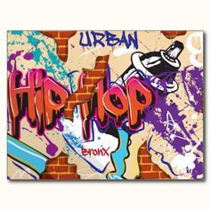 Graffiti Wall with Sports Car Shadow Postcard