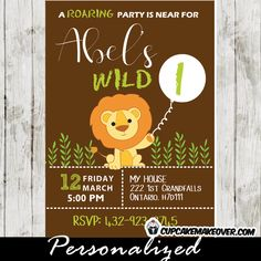 Prepare your guests for a roaring good time with this safari themed birthday party invitation featuring a happy lion holding a balloon imprinted with the birthday boy's age. Perfect for a first birthday or a toddler's birthday. #cupcakemakeover