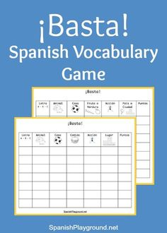 Printa these Basta game boards with categories for Spanish learners.