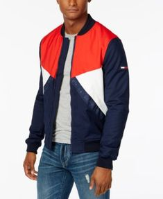 TOMMY HILFIGER Tommy Hilfiger Men'S Colorblocked Logo Bomber Jacket. #tommyhilfiger #cloth # coats