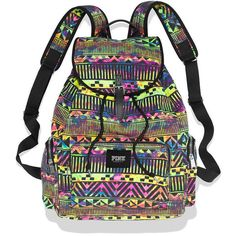 Victoria's Secret Backpack ($33) ❤ liked on Polyvore featuring bags, backpacks, accessories, mochilas, neon aztec, aztec print backpack, neon pink backpack, neon backpack, aztec bag and pocket bag