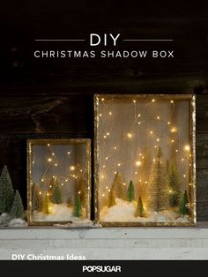 Create an Enchanted Forest With This Shadow Box DIY You don't have to be a crafting queen to whip up charming holiday decorations. This enchanting shadow box DIY reminds us of stargazing on a cold Winter night. Diy Christmas Shadow Box, Noel Christmas, All Things Christmas, Winter Christmas, Christmas Lights, Vintage Christmas, Christmas Decorations, Homemade Christmas, Light Decorations