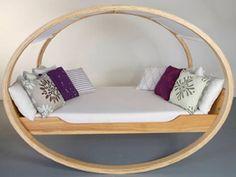 schöne kreative Betten holz rund kissen design