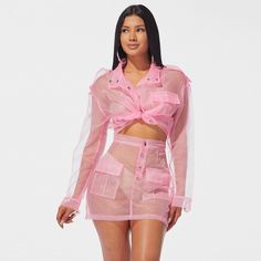 Pink Organza Mesh Sexy Two Piece Set Jacket And Skirt Fall 2019 Club Outfits Streetwear Cute 2 Pcs Matching Sets Club Outfits, Girl Outfits, Rave Outfits, Teenager Outfits, Fashion Outfits, Fall Skirts, Mini Skirts, Mesh Jacket, Sheer Bikini