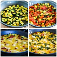 Greek Frittata with Zucchini, Tomato, Feta, and Herbs found on KalynsKitchen.com