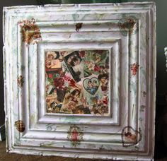 Vintage ceiling tile hanging wall art.  Decoupaged with victorian images