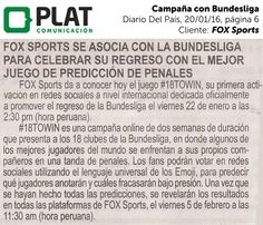 FOX Sports: Campaña promocional con la Bundesliga en el diario Del País de Perú (20/01/16)