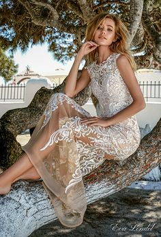 eva lendel 2017 bridal sleeveless jewel neckline heavily embellished bodice elegant romantic detachable satin skirt a  line sheath wedding dress lace back royal train (talia) bv