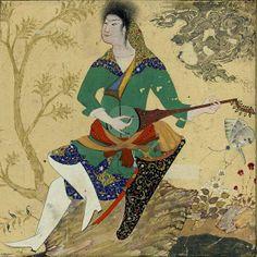 Mohammad Djaffar, Jeune homme jouant du roubab (vers 1590, British Museum). Remarquer les traits chinois du personnage.