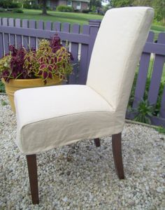 Parson Chair Slipcover Yellow Dining Cover 7000 Via Etsy In Sunbrella White