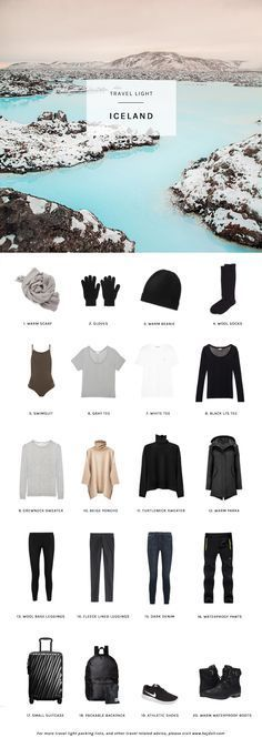 Travel Light - Pack for Winter in Iceland. 20 items, 10 outfits, 1 carry-on.