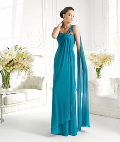 Sheath Column One Shoulder Floor Length Blue Evening Dress Pels0096