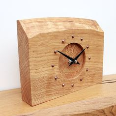 Oak Mantel Clock with Natural Edge and Burr Oak Face