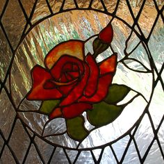Stained Glass Flower - Rose Panel