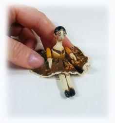 Miniature Folk Art Handmade Doll.