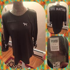 BNWT Pink Nation Green t shirt w/ 3/4 sleeves BNWT Pink Nation olive green t shirt with 3/4 length sleeves with 2 white stripes on each sleeve.  Size large.  No trades.  No other websites.  Use offer option to ask for price drop. PINK Victoria's Secret Tops Tees - Short Sleeve