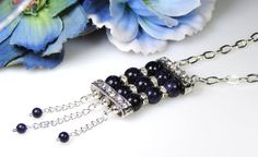 Starry Sky Deep Blue Goldstone and Crystal by My Creative Oasis https://www.etsy.com/shop/MyCreativeOasis?ref=l2-shopheader-name