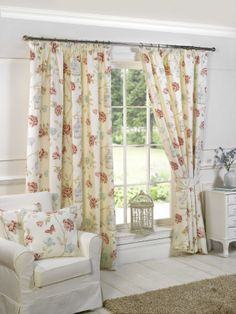 Charlotte Natural Curtains Curtainscouturecouk Floral CurtainsShabby Chic