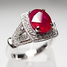 Estate Natural Ruby & Diamond Halo Engagement Ring Solid 14K White Gold