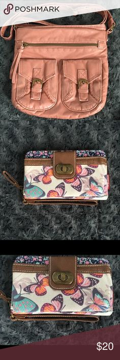 NWOT Rose colored purse and Butterfly Wallet Rose colored cross body purse with matching butterfly wallet. New without tags. Bags Crossbody Bags
