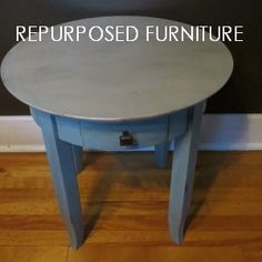 This repurposed accent table has been painted in aqua with a metallic cream top, then glazed in a steel grey and distressed.  This and other pieces of repurposed furniture and already custom crafted chalkboards are available at my website.  Please visit Kimber Creations often and sneek a peek at new projects yet to come!