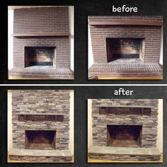 Fireplace Remodel - stone veneer over brick