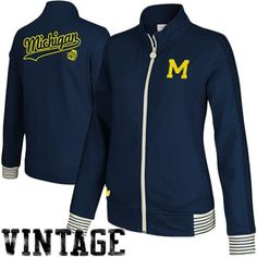 adidas Michigan Wolverines Ladies Fleece Track Jacket - Navy Blue