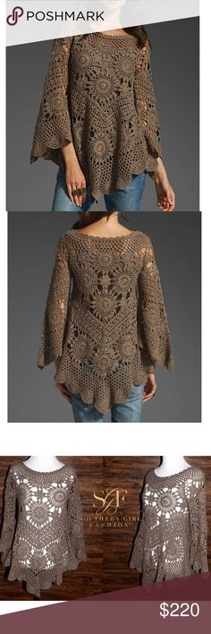 ETERNAL SUNSHINE CREATIONS Crochet Tunic Swing Top Size P/Small. New Without Tags. $220 MSRP + Tax.    • Beautiful brown tunic top featuring an effortless silhouette and floral crochet design throughout. • 3/4 length long sleeves flare at bottom. • Slight high-low style hemline. • Runs true to size. • Unlined. • 100% Cotton. • Imported.    {Southern Girl Fashion - Closet Policy}   ✔️ Same-Business-Day Shipping (10am CT). ✔️ Price shown is firm unless bundled ❌ No trades, thank you! Eternal…