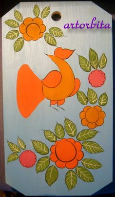 GORODETSKAYA PAINTING - an example of painting on the product-2-.Razzhivka leaves and flowers.
