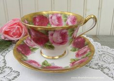 Vintage Royal Albert Pink Cabbage Roses with Gold Teacup and Saucer