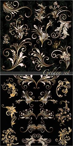2 sets of vector golden floral ornaments with some decorative swirls for your classic designs. Stencils, Motif Floral, Floral Patterns, Pretty Patterns, Tole Painting, Vector Graphics, Vector Vector, Vector Format, Vector Design