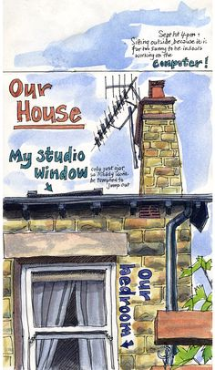 Lynne Chapman - Our house drawn from the back garden. Pen / watercolour. Browse more of my sketchbooks at www.lynnechapman.co.uk