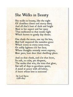 She Walks in Beauty Lord Byron Poem Love Poem Print Poetry   Etsy