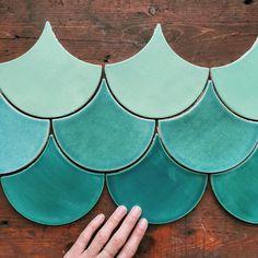 Mercury Mosaics | Moroccan Fish Scales - Mediterranean and Beach-y. 1017E Sea Mist, 216 Sea Glass, 108 China Sea | Get a free quote