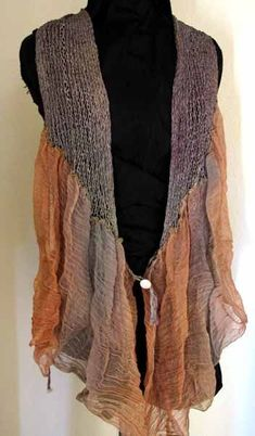 Link expired, but looks like a knitted scarf collar waistcoat with gauzy strips sewn on. Upcycling Fashion, Diy Fashion, Fashion Design, Gypsy Fashion, Knit Vest Pattern, Recycled Sweaters, Old Sweater, Altered Couture, Altering Clothes