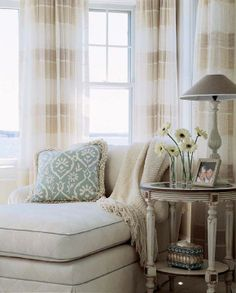 We need a cozy reading nook (maybe in master bedroom), with an easy view to the ocean.  I love the sheers and the cozy chair.