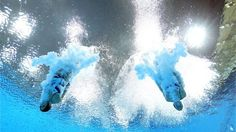 Rebecca Gallantree and Alicia Blagg of Great Britain compete in the women's Synchronised 3m Springboard final on Day 2.