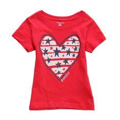 Sale 11% (8.39$) - 2015 New Little Maven Summer Baby Girl Children Heart Red Cotton Short Sleeve T-shirt