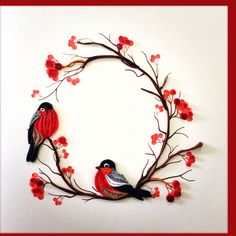 Pair of Birds, Quilling Card, Birthday, Greeting Approx. Neli Quilling, Paper Quilling Flowers, Paper Quilling Cards, Quilling Work, Paper Quilling Patterns, Quilled Paper Art, Quilling Paper Craft, Quilled Roses, Paper Crafting