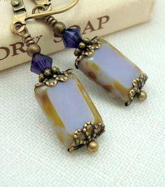 Purple Earrings,  Vintage Inspired Earrings, Neo Victorian Jewelry, Purple Czech Glass Window Bead, Opaque Lilac.  Cloud Cap Jewelry.  Etsy