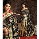 majestic-black-beige-saree