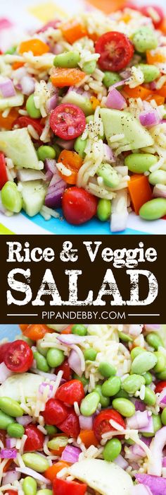 Rice and Veggie Salad   This is perfect as a side dish OR a delicious summer salad. It's a crowd-