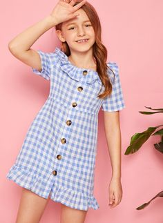 Frocks For Girls, Kids Outfits Girls, Girly Outfits, Little Girl Dresses, Girls Dresses, Cute Outfits, Girls Fashion Clothes, Kids Fashion, Indian Gowns Dresses