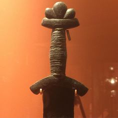 """Viking Age sword at the ROM in Toronto. Hilt typical of Viking swords from Denmark. Found in London, England - target of many raids by the Danes. Traces of inlaid letters (possibly """"NILERK""""?) - Vinland"""