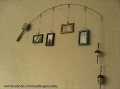 Fishing rod picture hanger. Baby boy room